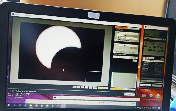 تصاویر خورشیدگرفتگی یکم تیرماه ۹۹ از رصدخانه لارستان و پخش مستقیم از سایت سازمان فضایی ایران