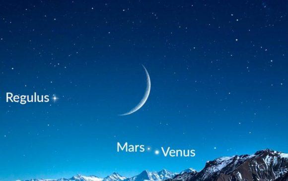 اجتماع یگانه قمر طبیعی زمین و سیاره های همسایه!